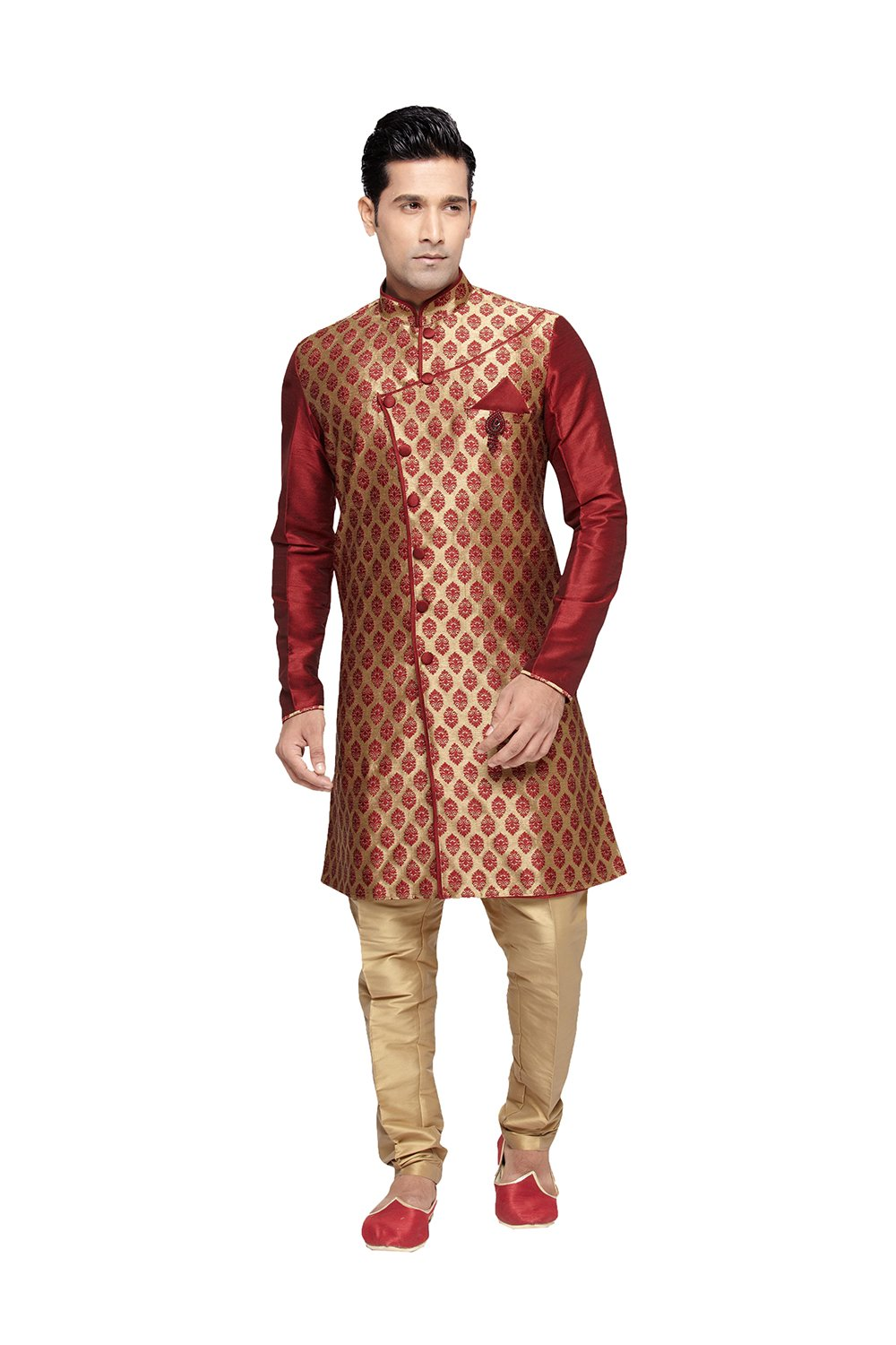 Indian Kurta Pajama Set For Men Wedding Festival Partywear In Beige Brocade Art Silk