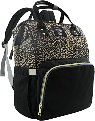 MIGER Leopard Diaper Bag Backpack Maternity Baby Nappy Bags Insulated Pockets