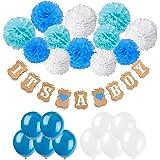 Recosis IT'S A BOY Papier Girlande Banner Dekoration mit 12pcs Seidenpapier Pom Poms und 20pcs Luftballons für Baby Shower Baby Dusche Girlande Dekoration, party Foto Requisiten und Baby Deko Geburtstag