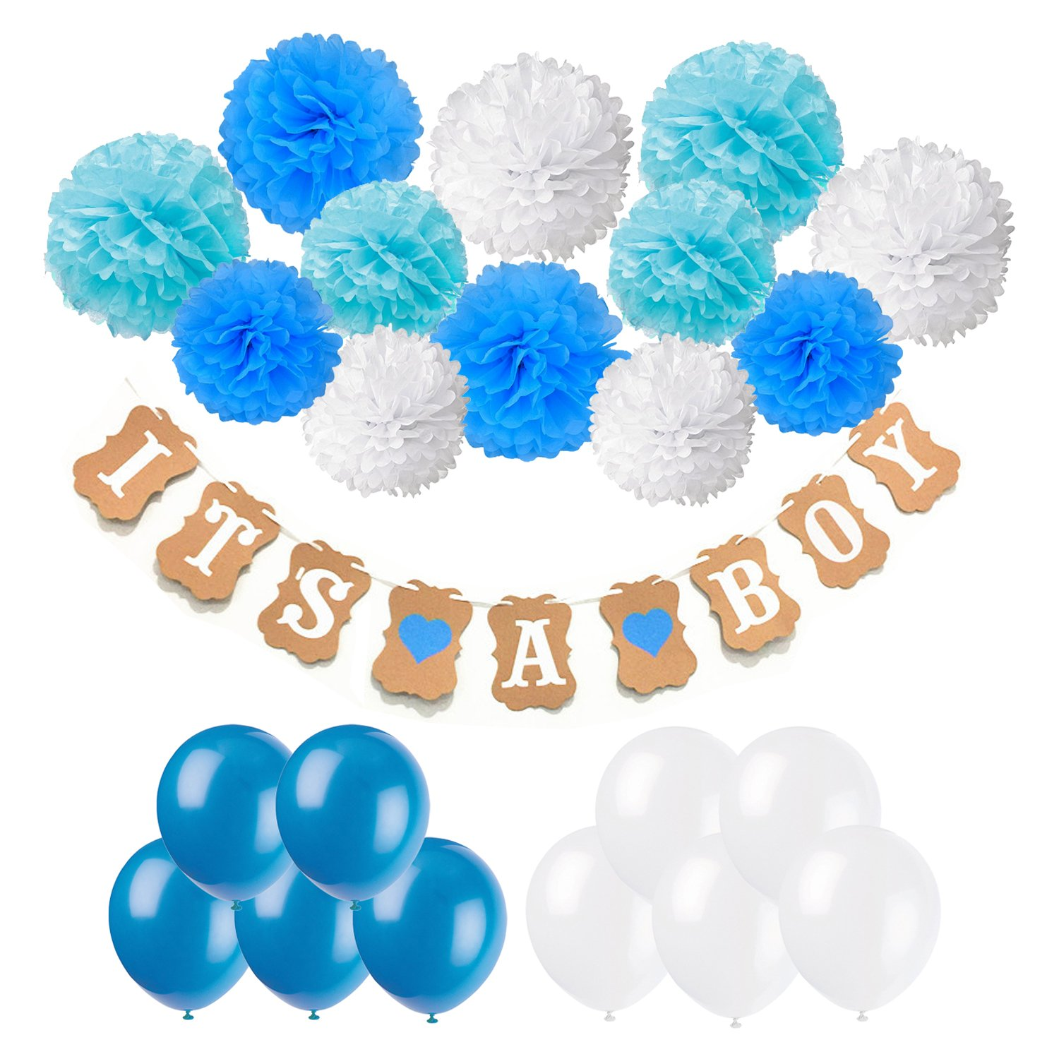Baby Shower Decorations, Cocodeko IT is A BOY Paper Garland Bunting Banner with 12 Paper Pom Poms and 20 Pieces Latex Balloons for Christening Baby Shower Garland Decoration Birthday Party Favors by Cocodeko