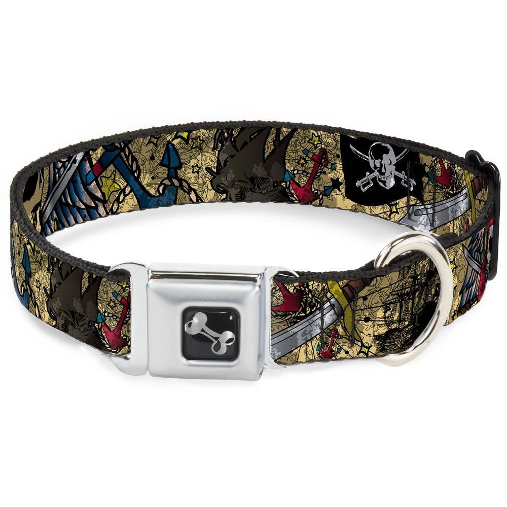 Buckle-Down Seatbelt Buckle Dog Collar Dead Men Tell No Tales Close-UP Tan 1.5  Wide Fits 16-23  Neck Medium