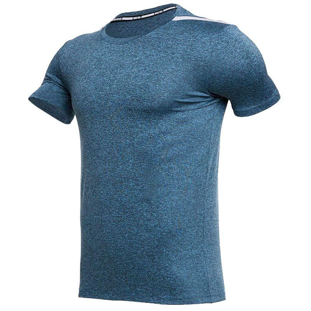 FLHLH Herren HeatGear Armor Kurzarm,Sport-T-Shirt, schnell trocknende Laufbekleidung, atmungsaktives Eisseiden-Fitness-Shirt mit Rundhalsausschnitt