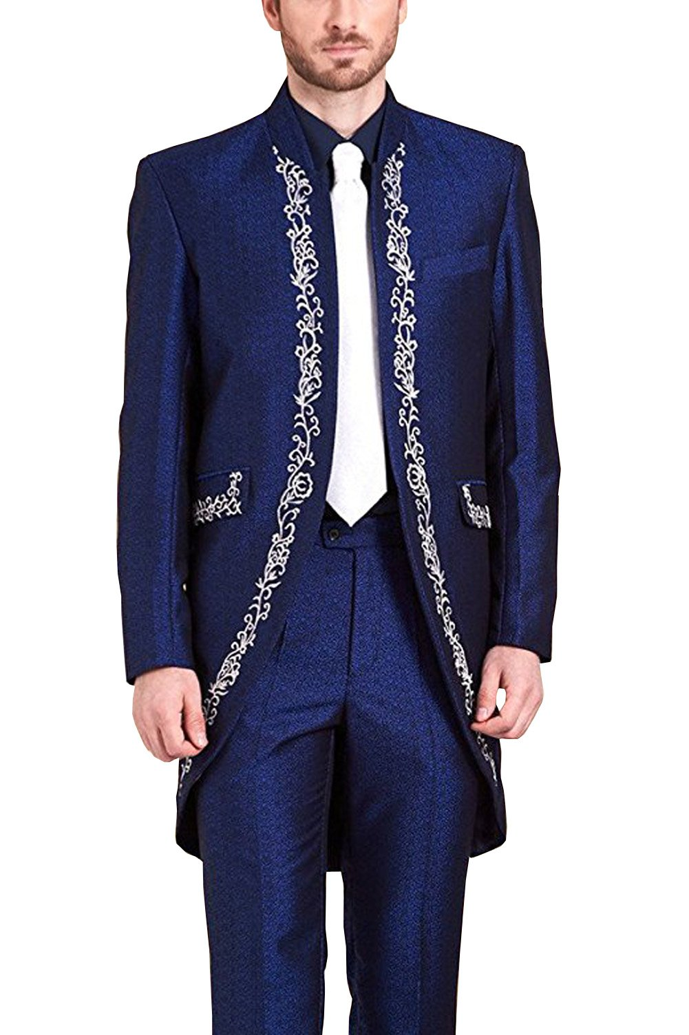 Hanayome Muslim Men's Two Pieces Stand Collor Embroidery Totem Long Tuxedo Suit Wedding Event SI88 (Blue,44)