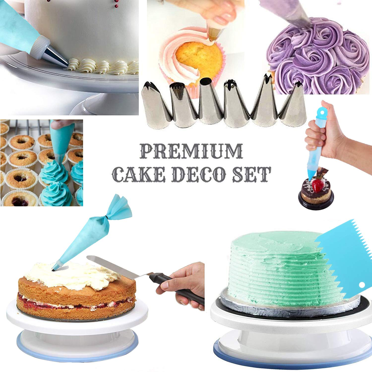 Cake Decorating Supplies Kit- 65 pcs Decorating Set With stands, piping tips, Pastry Bags,All-In-One Cake Decorating Set For Beginners & Professional by Nisam (Image #4)
