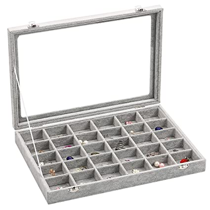 2d4a098ba Ivos Velvet Glass Jewellery Ring Display Organiser Box Tray Holder  Jewellery Earrings Storage Case: Amazon.co.uk: Kitchen & Home