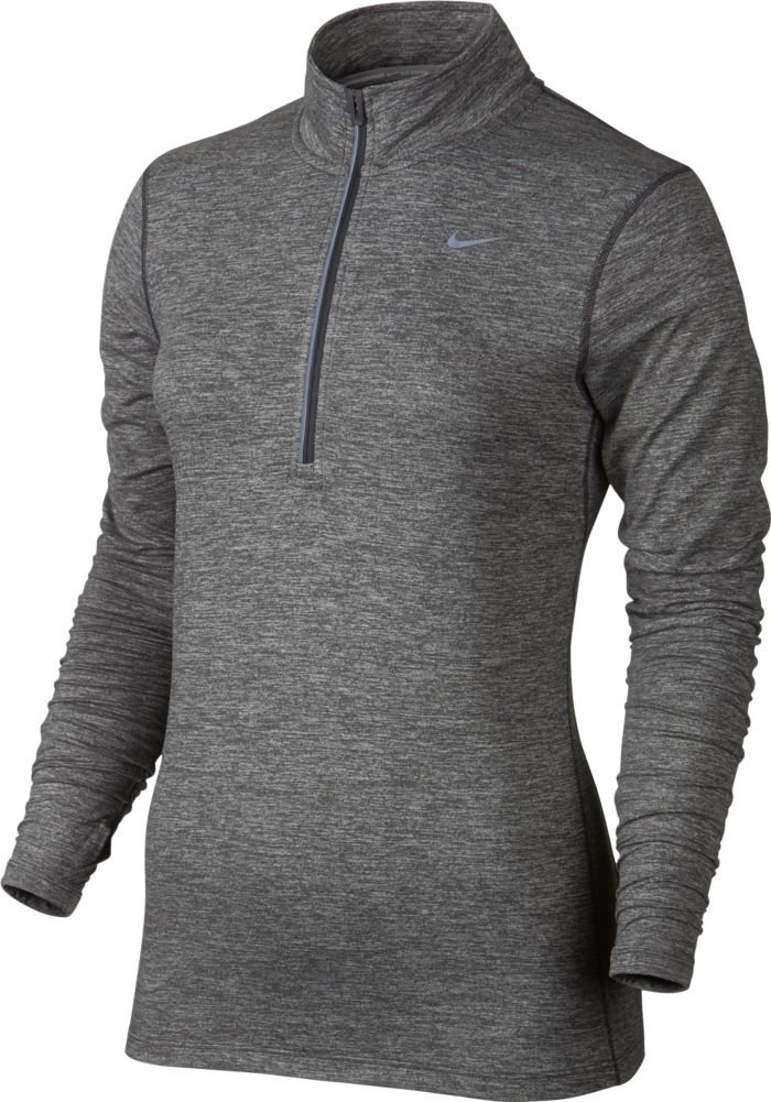 NIKE Womens Stay Warm Dri-Fit Fitness 1/4 Zip Pullover Gray XL by Nike