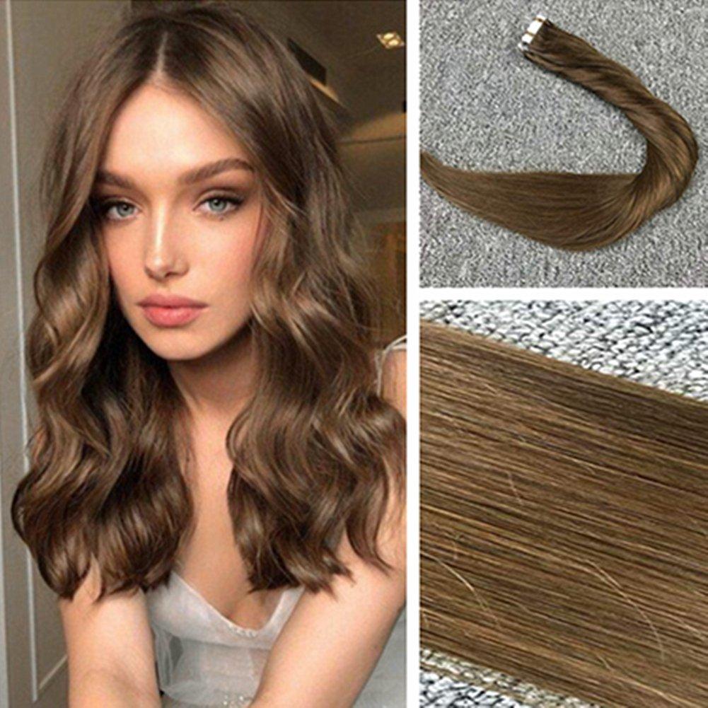Komorebi Hair Extensions Tape in Remy Human Hair Seamless Straight Hair #4 Chocolate Brown 22inch 20pcs/50g by Komorebi