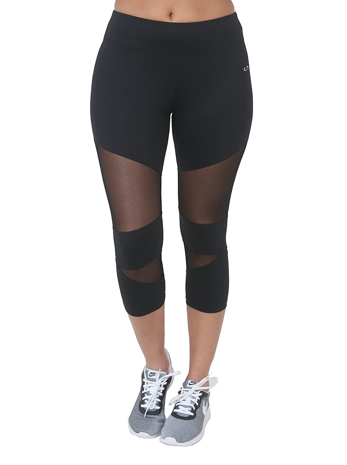 Women Black /& Black White on Knee Pants 7//8 Leggings Combined with mesh Gym Sealmax Florence Casual 16058