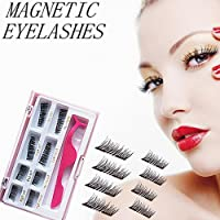 Upgraded Magnetic Eyelashes Plus Tweezers, Long Size and Half Size in One Set, 0.2mm Ultra Thin Magnetic False Eyelashes, 3D Reusable Fake Lashes, Natural Look 2 Pairs / 8 Pieces