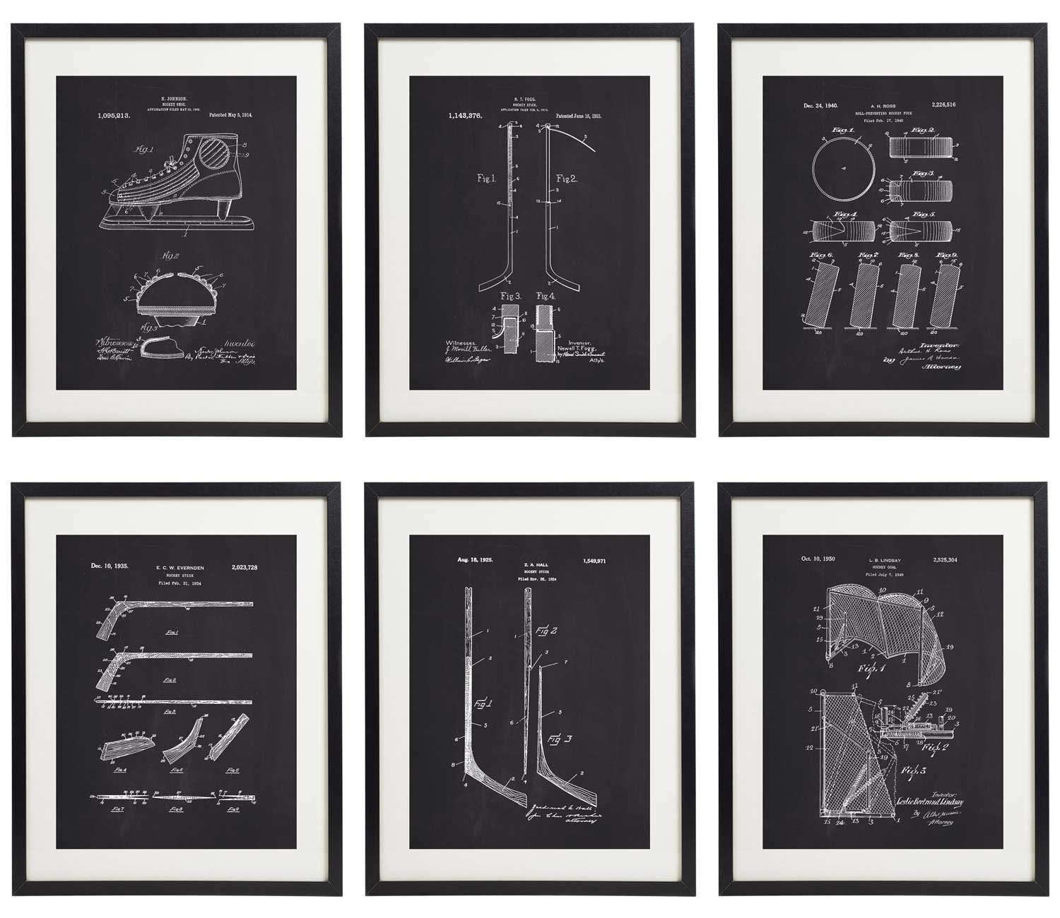 IDIOPIX Ice Hockey 01 Patent Wall Decor Chalkboard Art Print Set of 6 Prints UNFRAMED