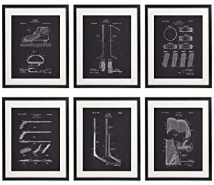 IDIOPIX Ice Hockey Patent Prints Home Decor Chalkboard Art Print Set of 6 Prints UNFRAMED No.1