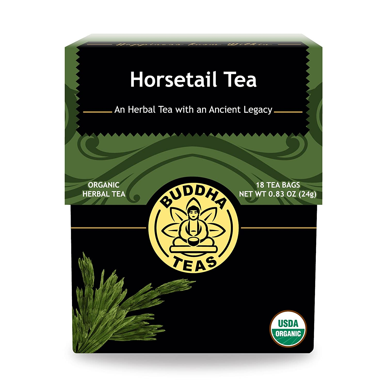 Organic Horsetail Tea, 18 Bleach-Free Tea Bags – Organic Caffeine Free Tea Optimizes Urinary Tract Health, Supports Hair Growth and Bone Development, Natural Source of Vitamin C and Fiber, No GMOs