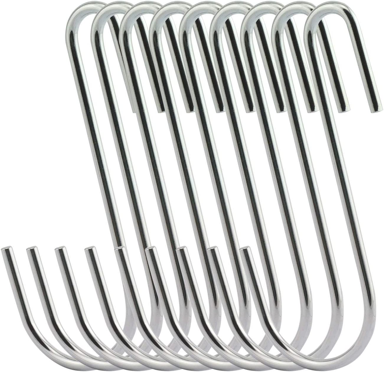 NX Garden 12PCS 4 Inches Silver S Hook Cookware Universal Pot Rack Hooks Steel Chrome Finish Sturdy Hanging Hook for Kitchenware Pots Utensils Towels