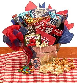 Amazon Com Gift Basket Movie Night Gift Pail W Redbox Gift Card