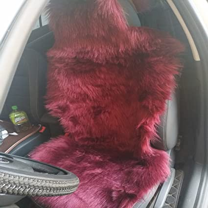 Excellent Oflba 1Pcs Faux Sheepskin Car Seat Cover For Suv Long Wool Universal Fit Fur Seat Cushion Wine Pabps2019 Chair Design Images Pabps2019Com
