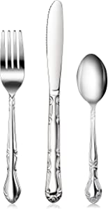 New Star Foodservice 58840 Stainless Steel Rose Pattern 3 Piece Flatware Set, Service for 12, Silver…