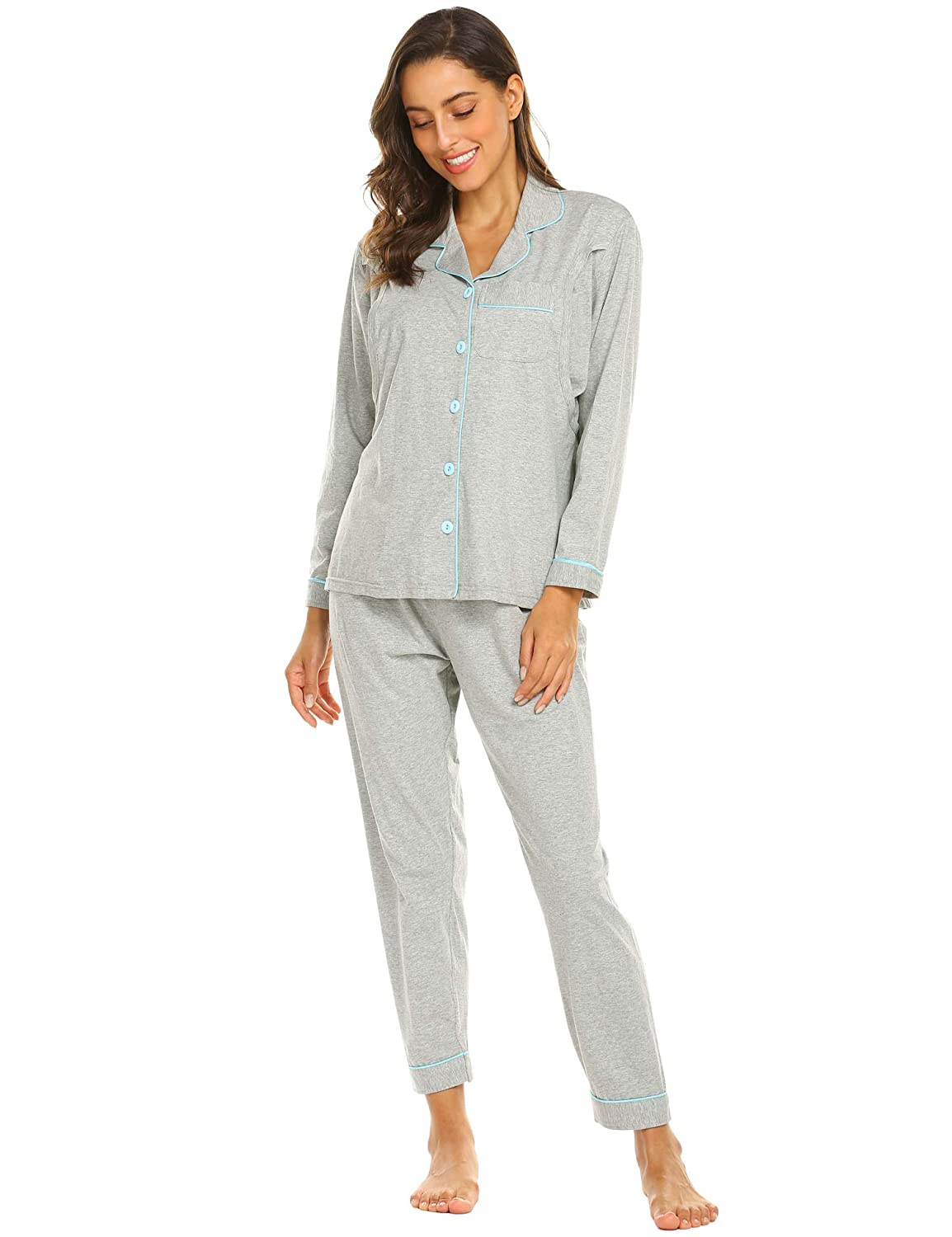 4ace74defdc 【IDEAL MATERNITY NURSING PAJAMAS】: Be made of high-quality fabric, our  nursing pajamas sleepwear is soft and breathable,The fabric is  machine-washable, ...