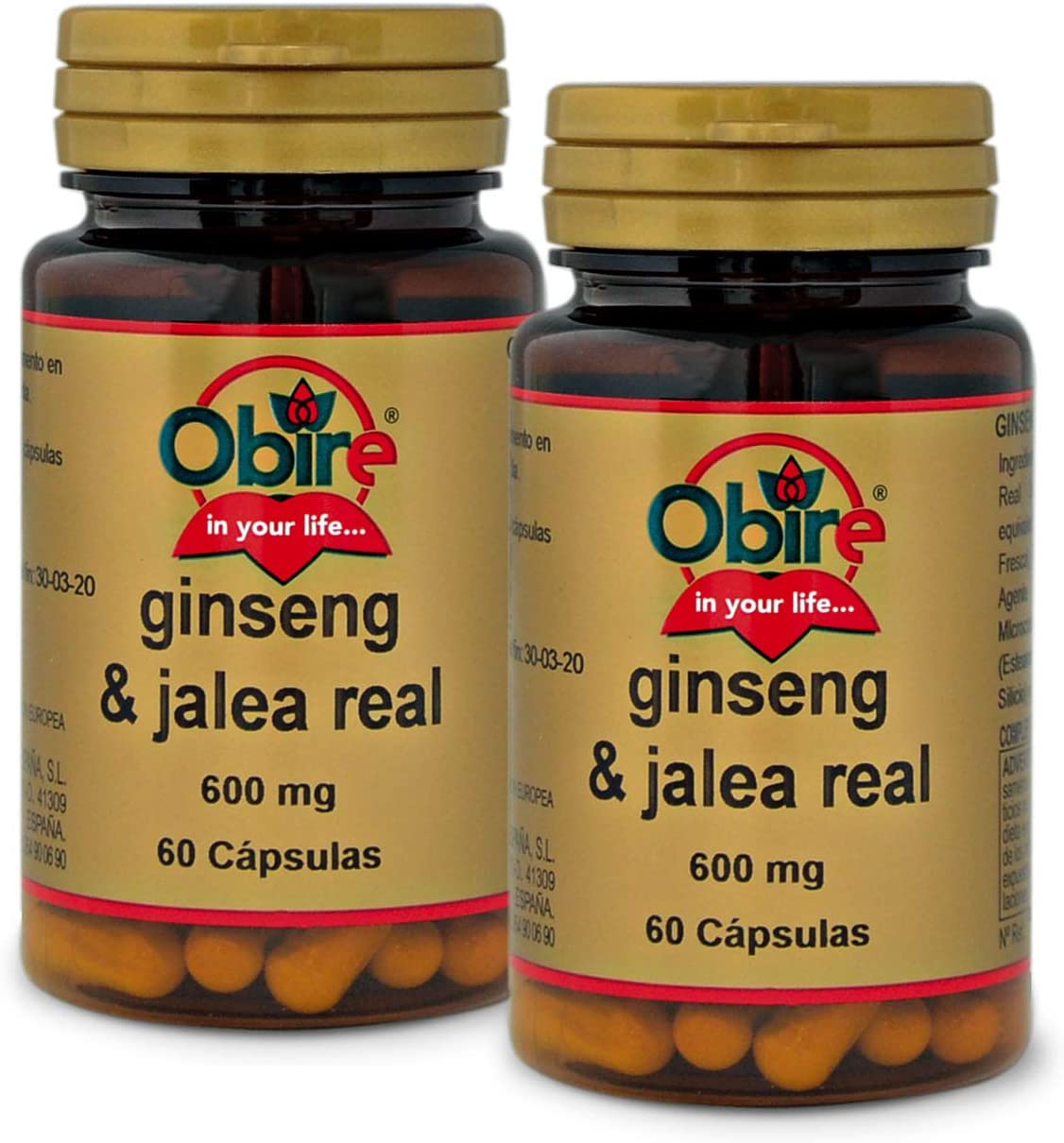Ginseng & jalea real 600 mg. 60 capsulas (Pack 2 unid.)