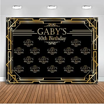 Mehofoto Customized Great Gatsby 40th 50th 60th Birthday Backdrop Custom Name Color Birthday Number Size Photography Background 7x5ft Vinyl Birthday