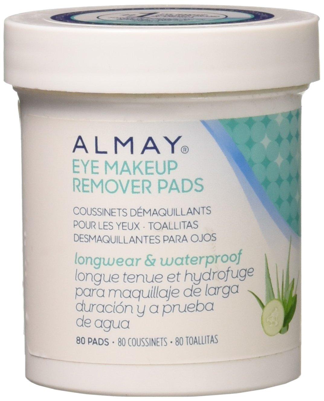 Almay Longwear & Waterproof Eye Makeup Remover Pads, 80 Count(Pack of 2) 80 Count(Pack of 2)