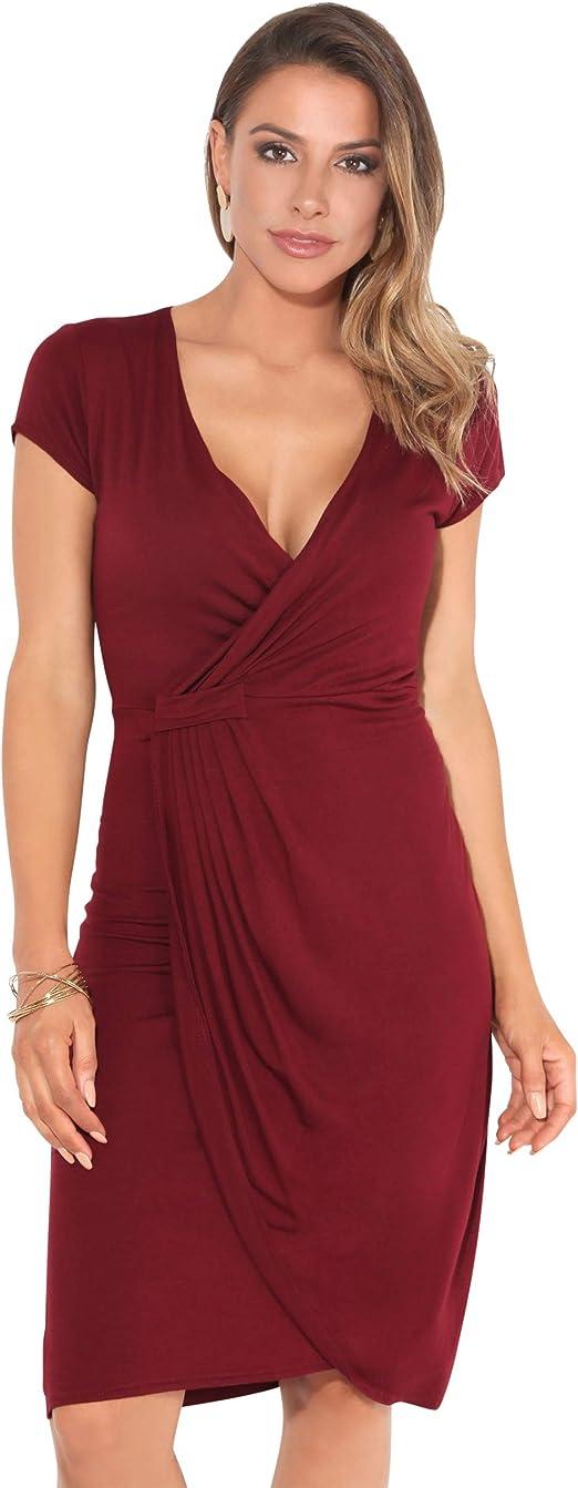 TALLA 44. KRISP Vestido Moda Mujer Fruncido Granate (6678) 44
