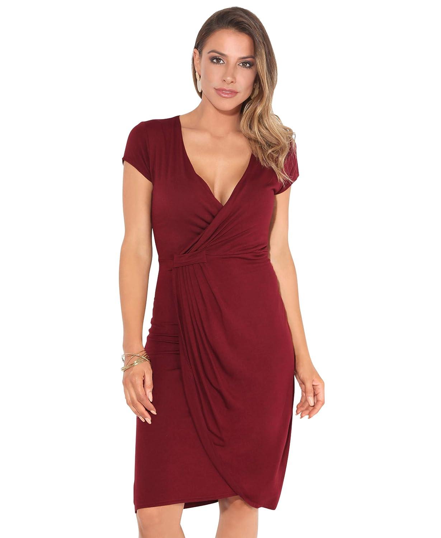 TALLA 40. KRISP Vestido Moda Mujer Fruncido Granate (6678) 40