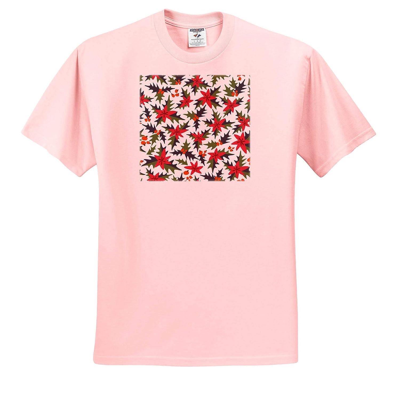 Adult T-Shirt XL Cute Folk Art Poinsettia Flower Pattern ts/_318558 3dRose Anne Marie Baugh Christmas