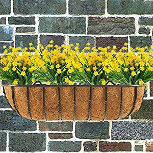 4pcs Artificial Yellow Daffodils Flowers Fake Shrubs UV Resistant Faux Plants Faux Plastic Bushes Indoor Outdoor Home Office Garden Patio Yard Table Wedding Farmhouse Centerpieces Pot Decor (Yellow) 4