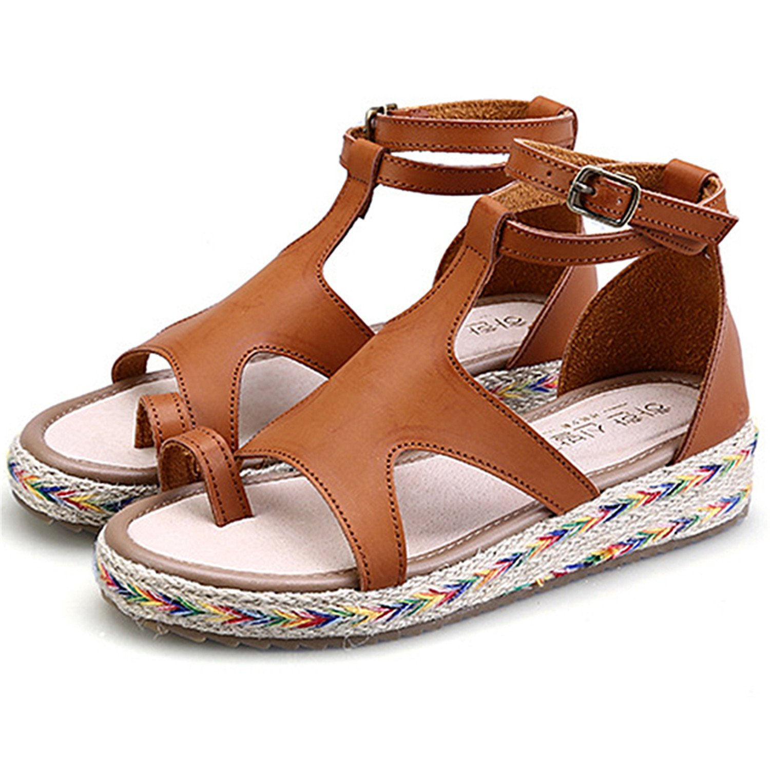 9822f25e22f1 HEART LOVE Women Sandals Fashion Straw Shoes Woman Summer Wedges Sandals  Ankle Strap Casual Ladies Flat Sandals - Casual Women s Shoes