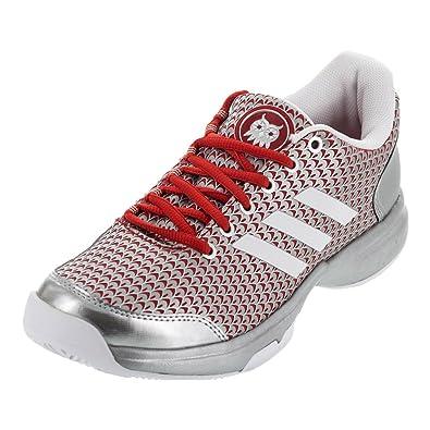 huge selection of 5efa9 5bf71 adidas Womens Adizero Ubersonic 2 W Athena Tennis Shoe WhiteMetallic  SilverVivid Red