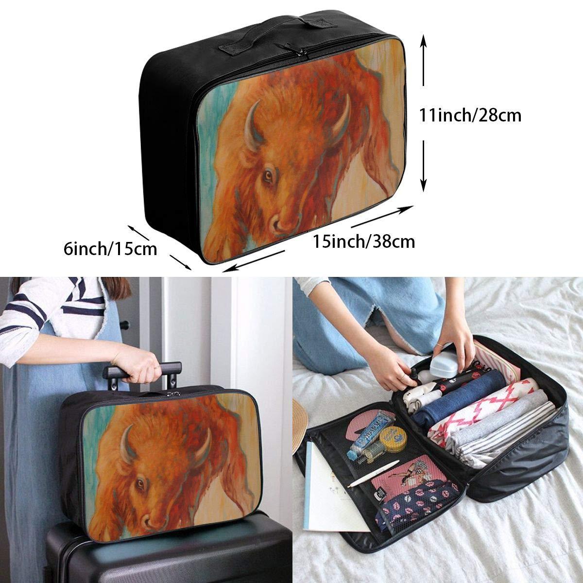 Travel Luggage Duffle Bag Lightweight Portable Handbag Bison Painting Large Capacity Waterproof Foldable Storage Tote
