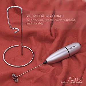 Azuki Full Metal Handle Milk Frother, Handheld Foam Maker, Mini Blender and Foamer Perfect for Ccoffee, Latte, Cappuccino, Hot chocolate, Juice Drink, Blender with Stainless Steel Whisk, Stainless Steel Stand - Silver (Color: silver, Tamaño: Q7)