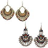 Mahi Gold amd Rhodium Plated Elegant Combo of Afghani Earrings for Girls and Women CO1104802M