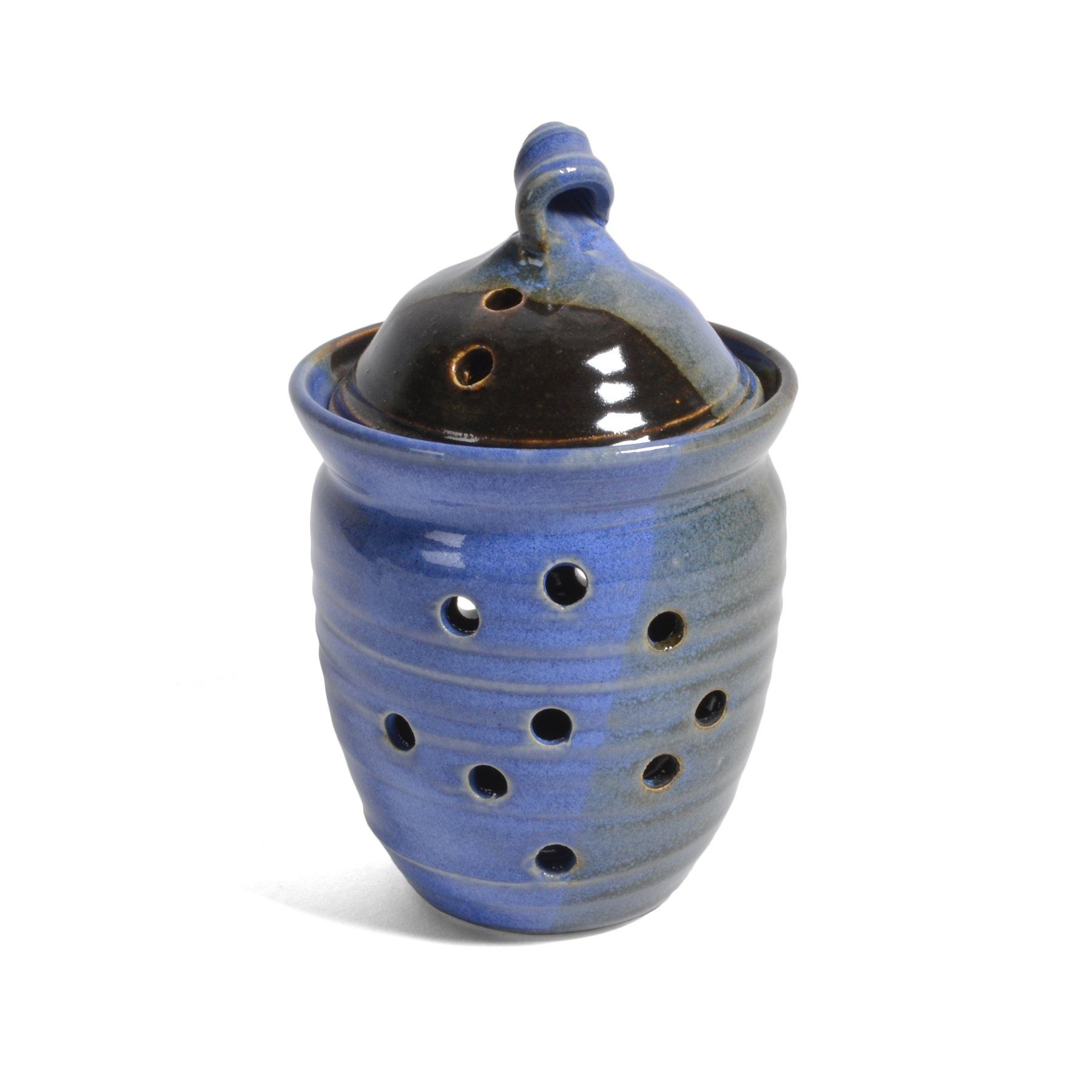 Holman Pottery Garlic Keeper Jar, Blue Earth by Holman Pottery
