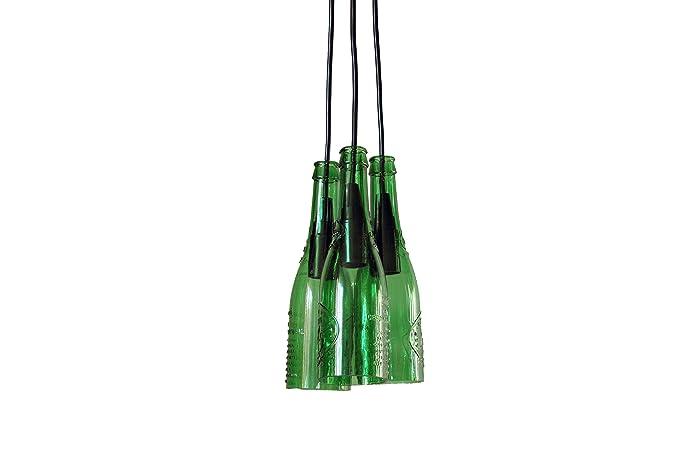 Interfan Alhambra Lámpara Colgante de 3 Botellas E14, Verde ...