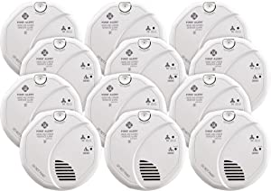 First Alert BRK SC7010BV-12 Hardwired Talking Photoelectric Smoke and Carbon Monoxide (CO) Detector, 12-Pack