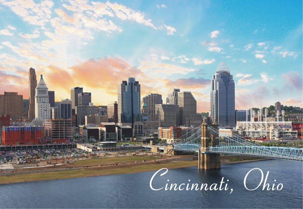 Cincinnati, Ohio Skyline, Buildings, Bridge, Ohio River, Souvenir Magnet 2 x 3 Fridge Magnet