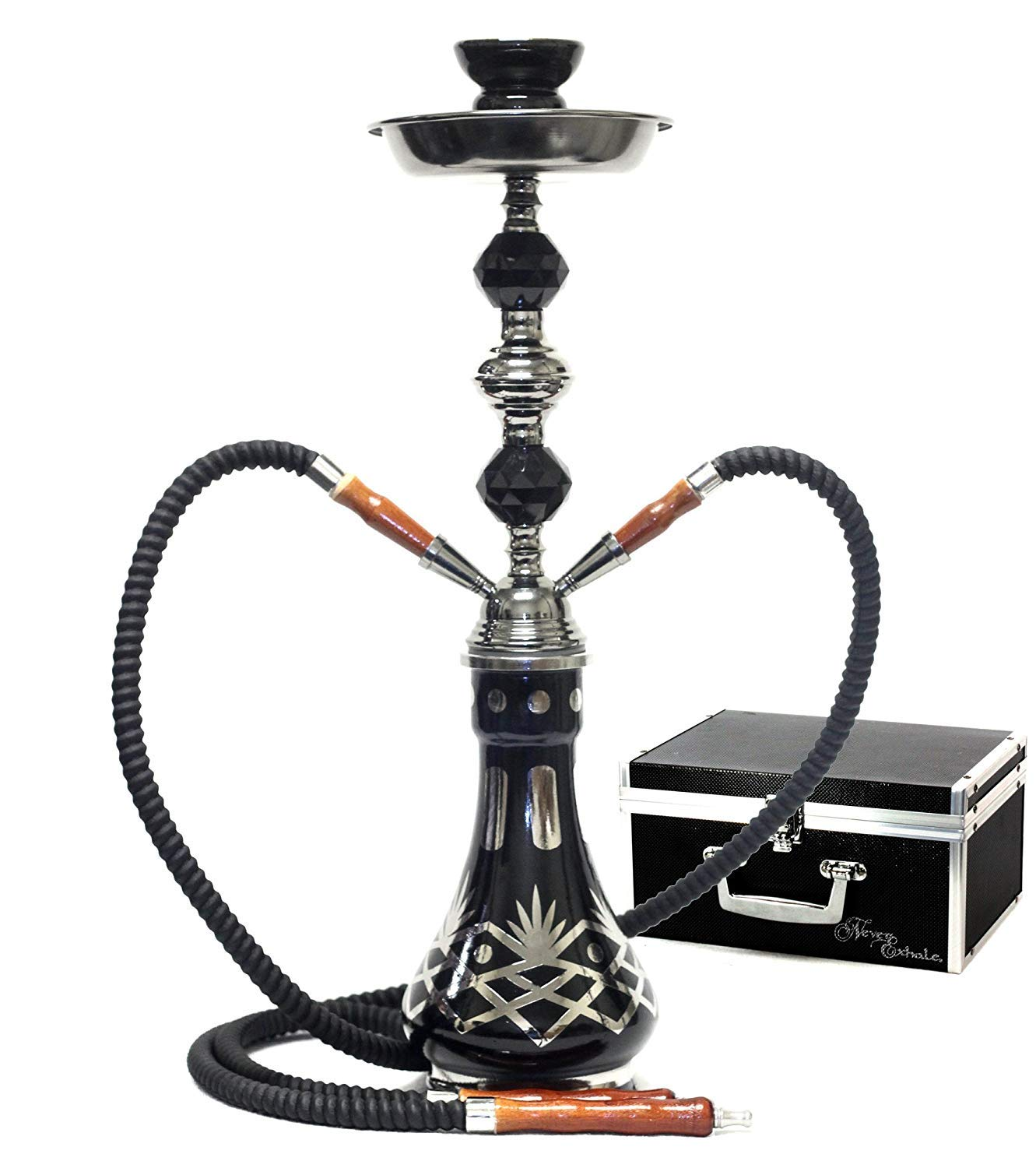GStar 18'' Deluxe 2 Hose Hookah with Optional Carrying Case (Akimbo Black w/Case) by GStar