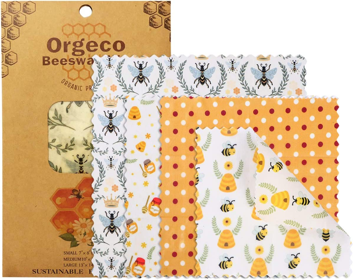 Orgeco Reusable Beeswax Food Wrap,4 Pack Organic Bees Wraps Food Storage Eco Friendly Cloth Food Covers for Bread Cheese Sandwich (1-Dot 4PCS)