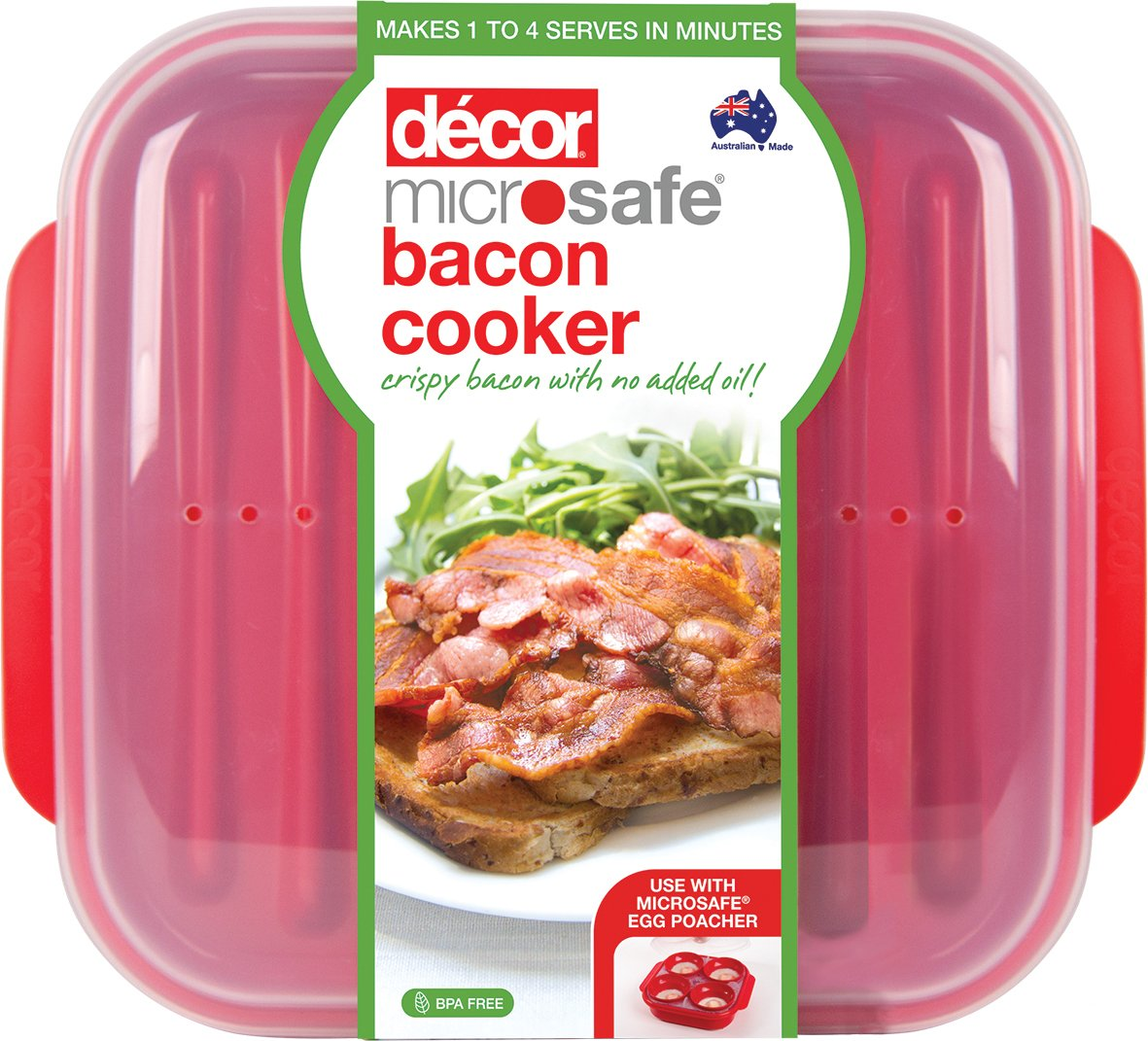 Decor ® Microwave Bacon Cooker Plate - For Healthier Crispy Bacon – Cook Bacon Within Minutes 225600-004