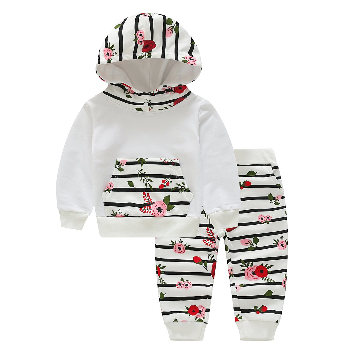 Brightup Baby Hoodies & Tracksuits, Little Girl Outfits,Hoodie Tops and Pants Clothing Set,Print Sweatshirt
