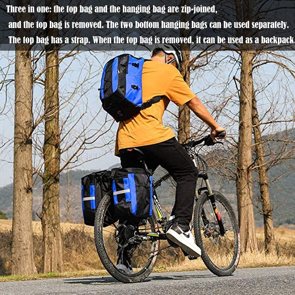 Cycling Bag 70L Rear Bicycle Bag Waterproof Bike Pannier Bags 3 in 1 Bicycle Saddle Bag With Rain Cover for Travel Hiking