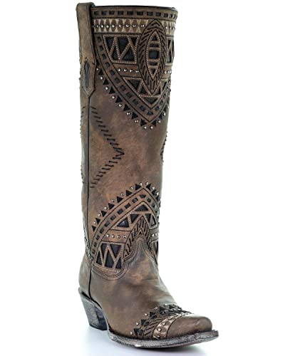 7b35679028e Amazon.com | CORRAL Women's Distressed Inlay Studded Cowgirl Boot ...