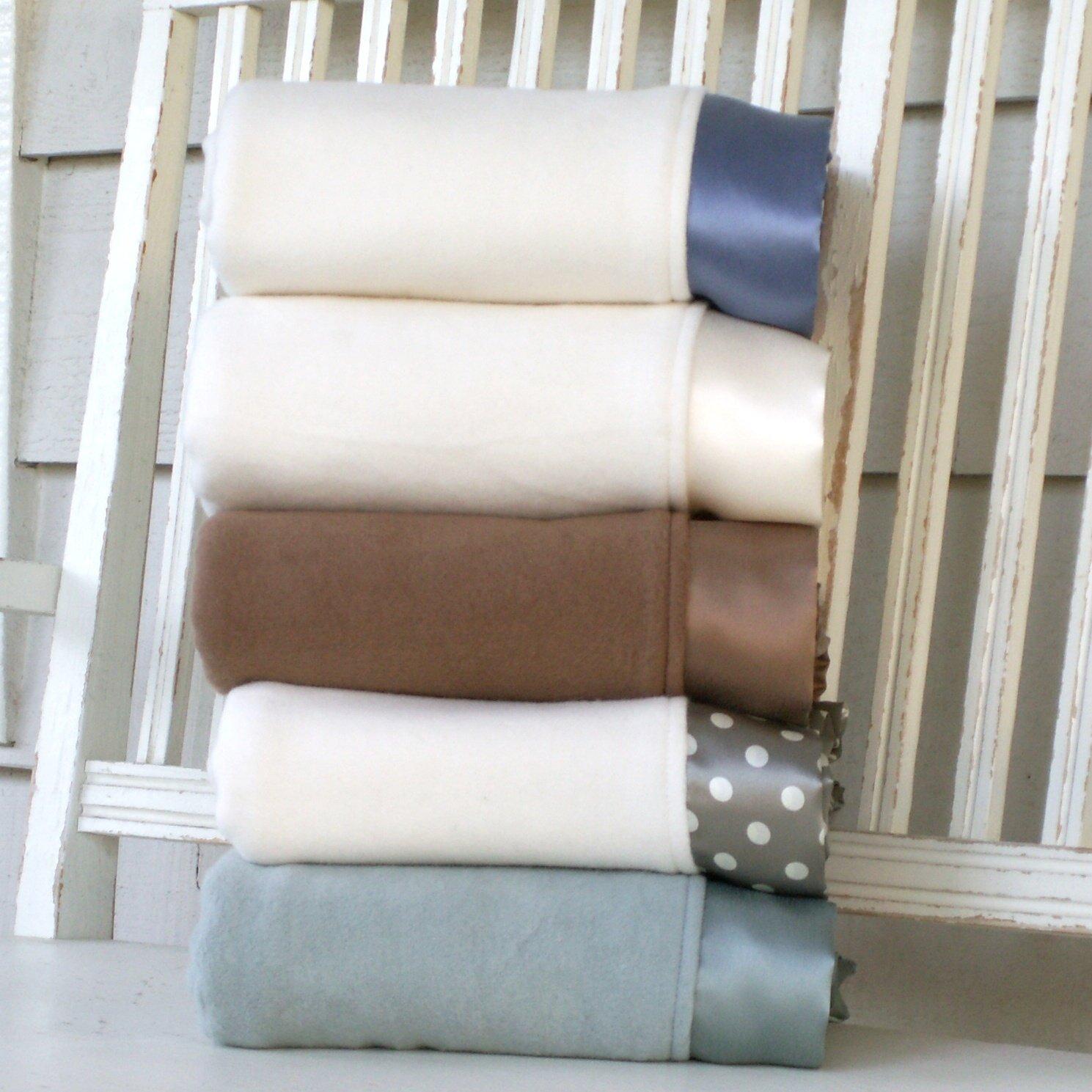 Organic Fleece Cotton Baby Blanket with Straight Silk Trim (Crib 32x38'', natural cotton/petal pink silk)