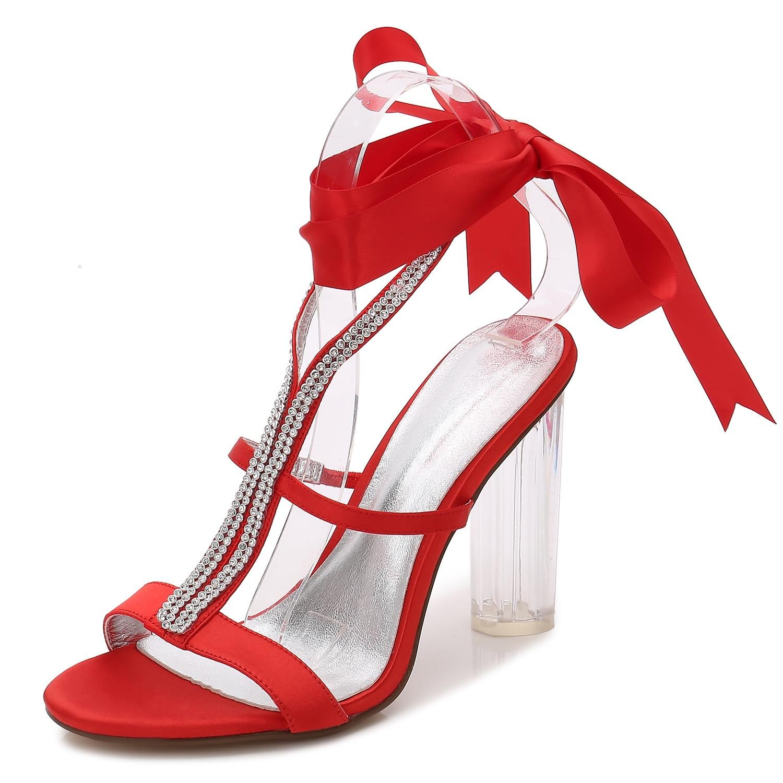 Elegant high Satin schuhe Frauen Hochzeit Schuhe F2615-6 Silk Satin high Ribbon Toe Pumps Brautjungfer Plattform/Nacht/Kristall ROT ea34ad