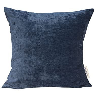 TangDepot Handmade Solid Chenille Decorative Throw Pillow Covers, Pillow Shams, Square pillow covers, Cushion Covers, Pillowcase - (16 x16 , Navy Blue)