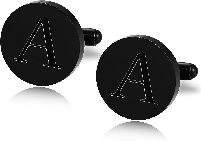 LOLIAS Mens Cufflinks Black Engraved Initial Cufflinks for Men Alphabet Letter Cufflinks Bussiness Wedding Shirts A