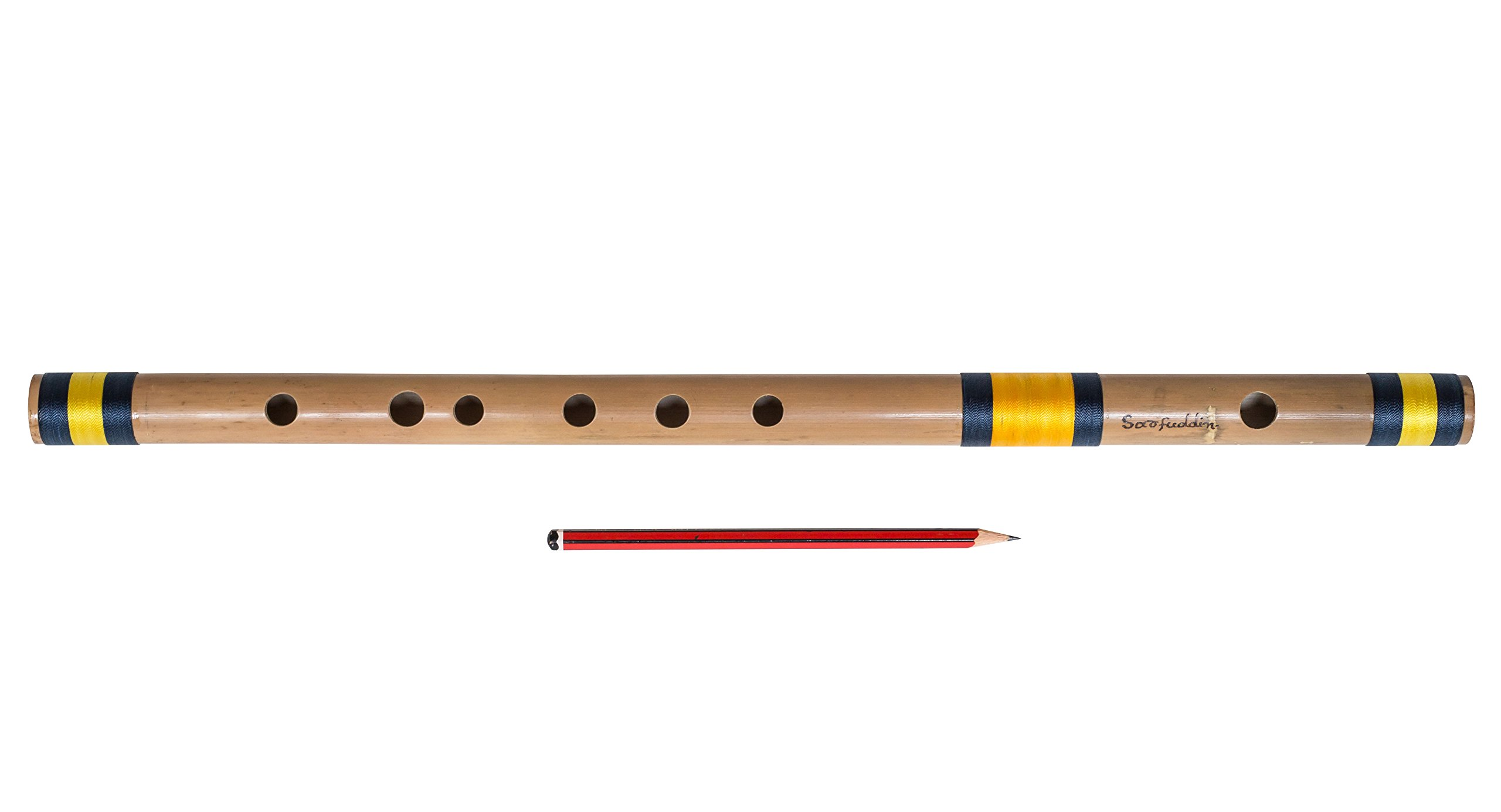Sarfuddin Flutes, Indian Bamboo Flute, Scale C Natural Medium 19 Inches, Concert Quality, Accurately Tuned, Recommended for Beginners, Hindustani Prof. Bansuri Indian Flute, Nylon Pipe Bag (PDI-DEH)