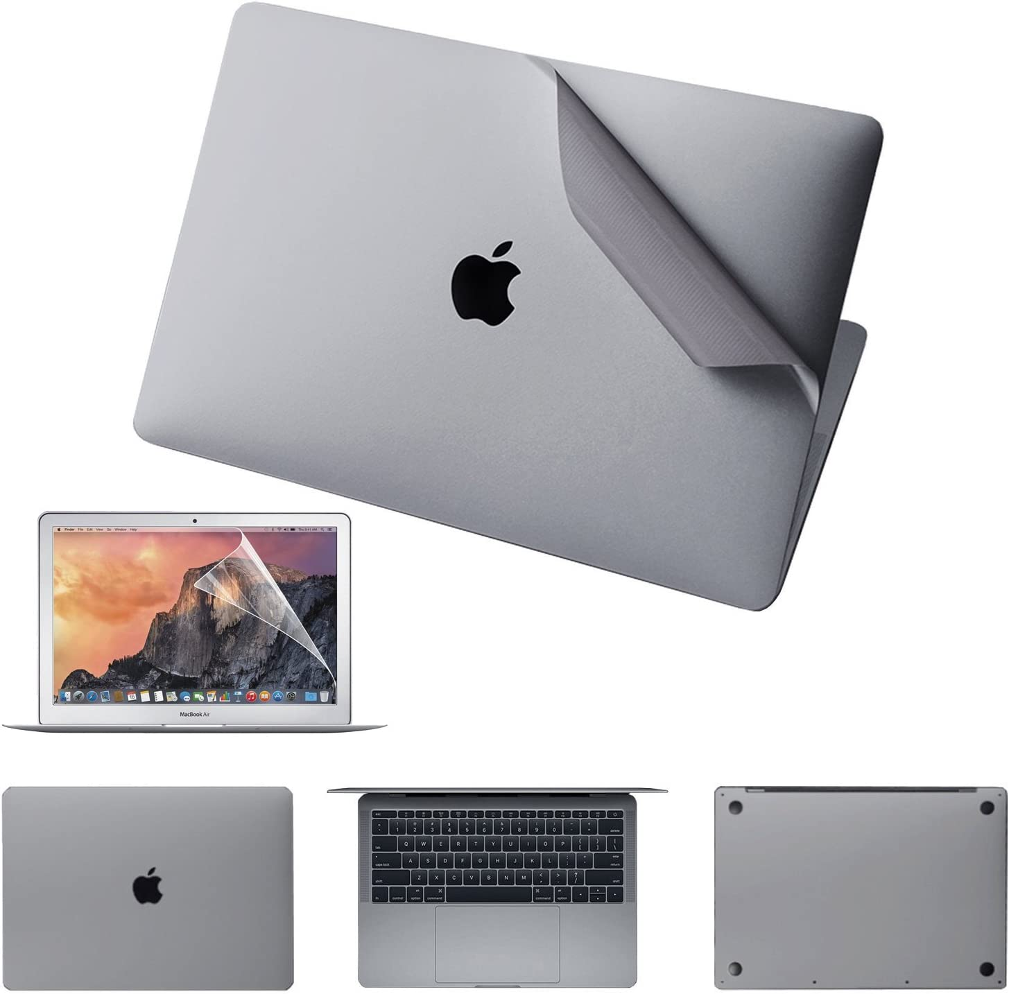 """JRCMAX 5-in-1 Skin Sticker for MacBook Pro 15"""" Touch Bar (A1707/A1990),3M Vinyl Decal Top + Bottom + Touchpad + Palm Rest + Screen Protector-Gray"""
