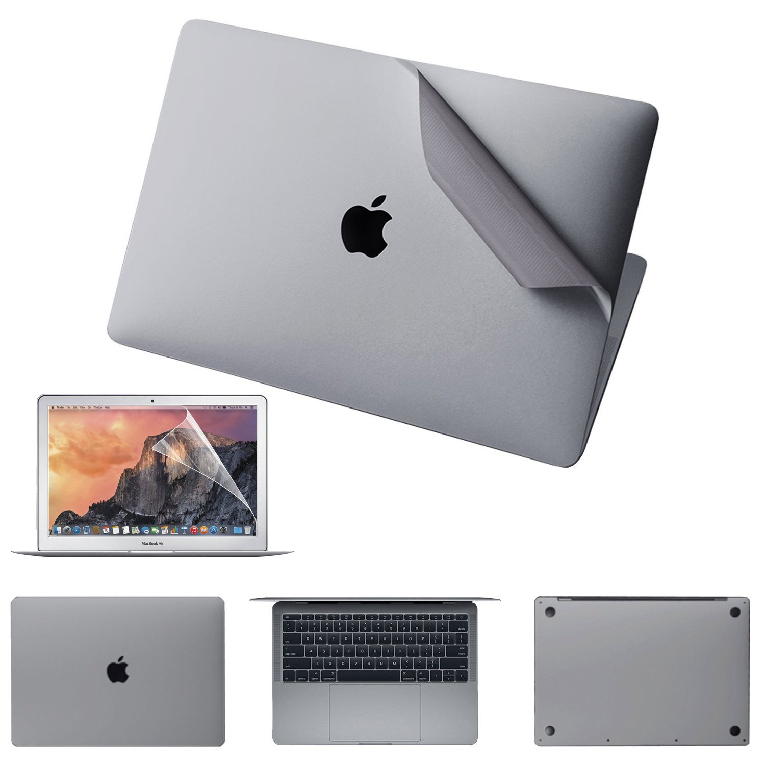 JRCMAX 5-in-1 Skin Sticker for MacBook Pro 13 Inch with Touch Bar (A2159/A1706/A1989), 3M Decal Skin with High Clear Screen Protector -Gray